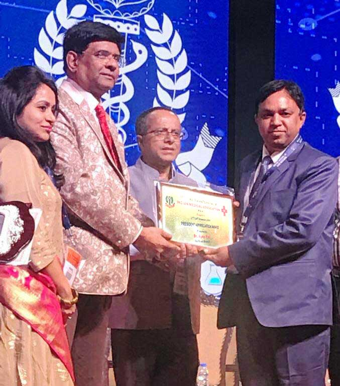 Dr Ajay Pal, Director of  Brij Lal Hospital & Research Centre receiving  National President Appreciation Award  at IMA Annual National Conference